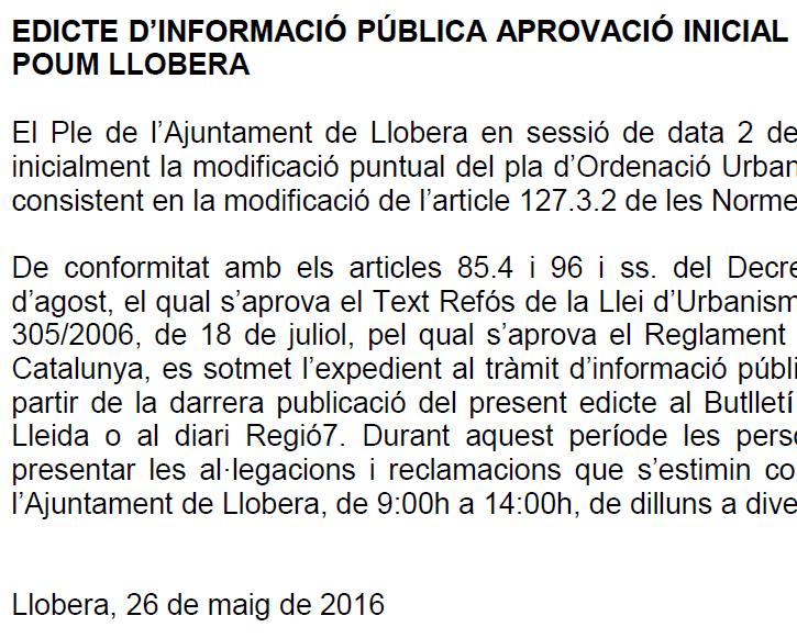 Edicte d'informació pública de modificació puntual del POUM