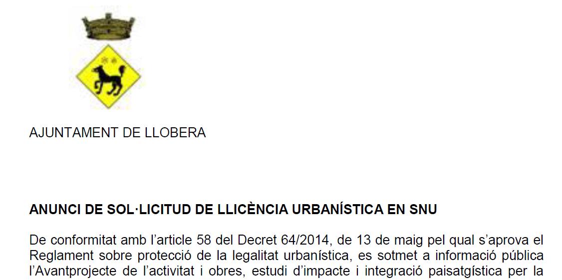 Anunci de sol·licitud de llicència urbanística en SNU