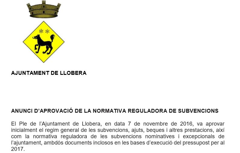 Anunci aprovació normativa reguladora subvencions 2017