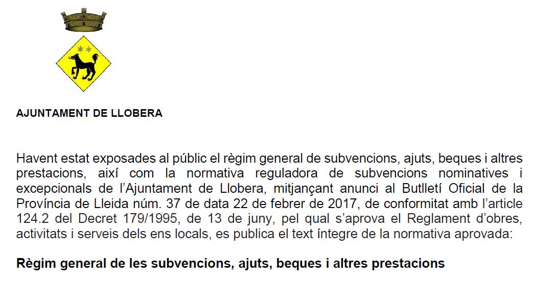 Anunci d'aprovació definitiva de la normativa de subvencions 2017