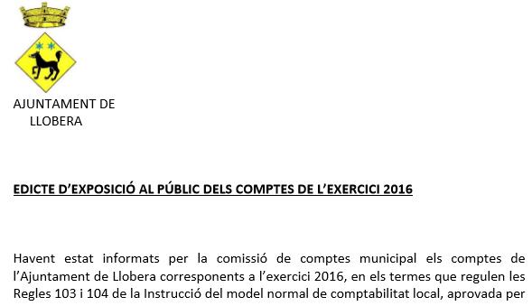 EDICTE DELS COMPTES DE L'EXERCICI 2016