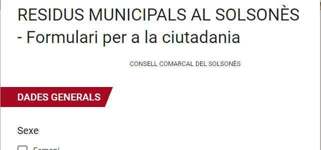ENQUESTA DEL PLA LOCAL DE PREVENCIÓ DE RESIDUS MUNICIPALS AL SOLSONÈS