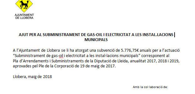 AJUT PER AL SUBMINISTRAMENT DE GAS-OIL I ELECTRICITAT A LES INSTAL.LACIONS MUNICIPALS