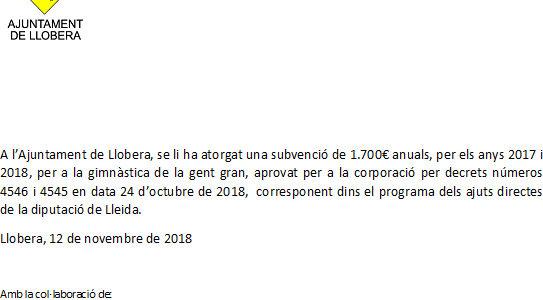 Subvenció 2017-2018 gimnàstica de la gent gran